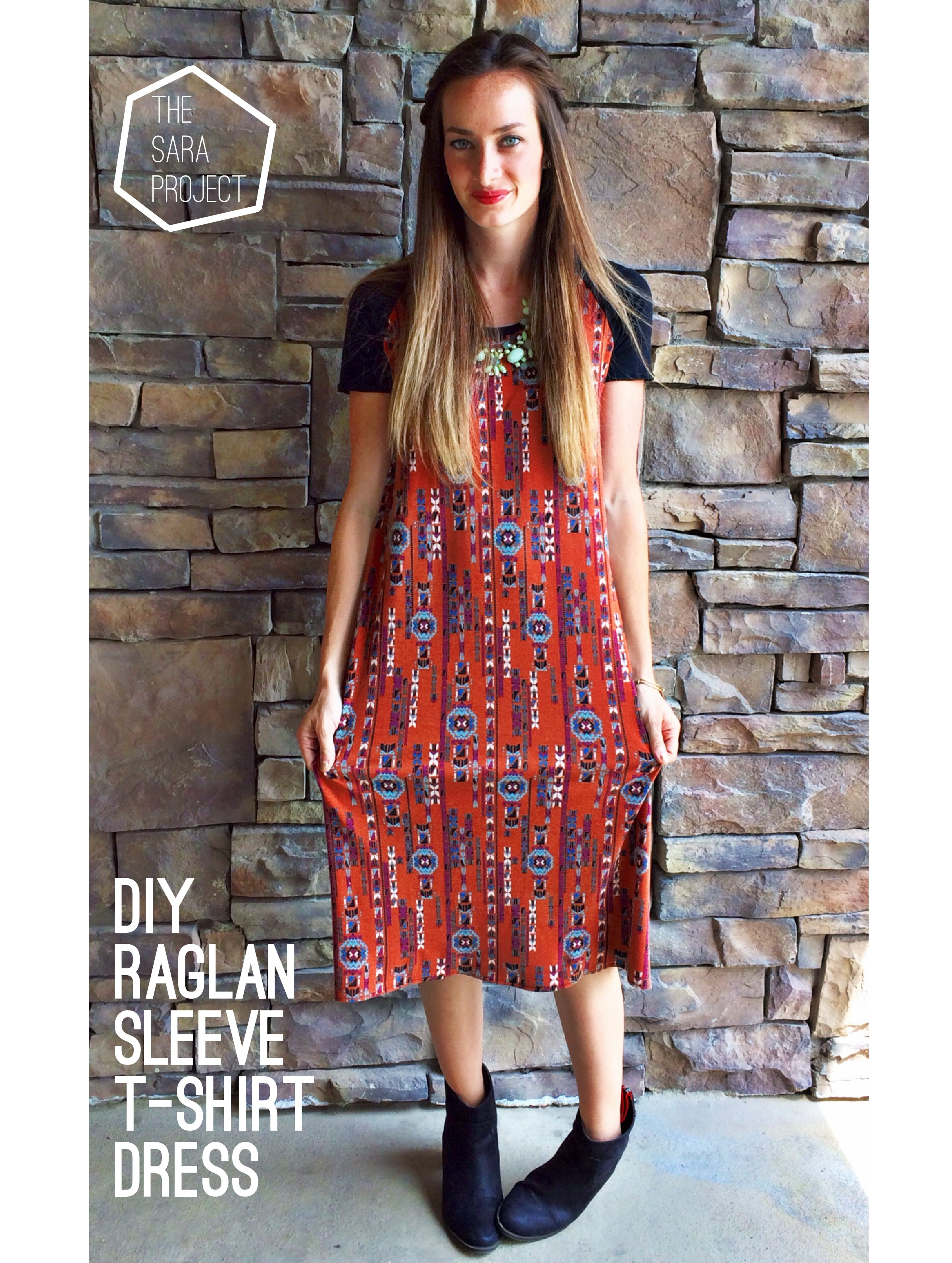 Knit Raglan Sleeve T Shirt Dress Sewing Tutorial The Sara Project