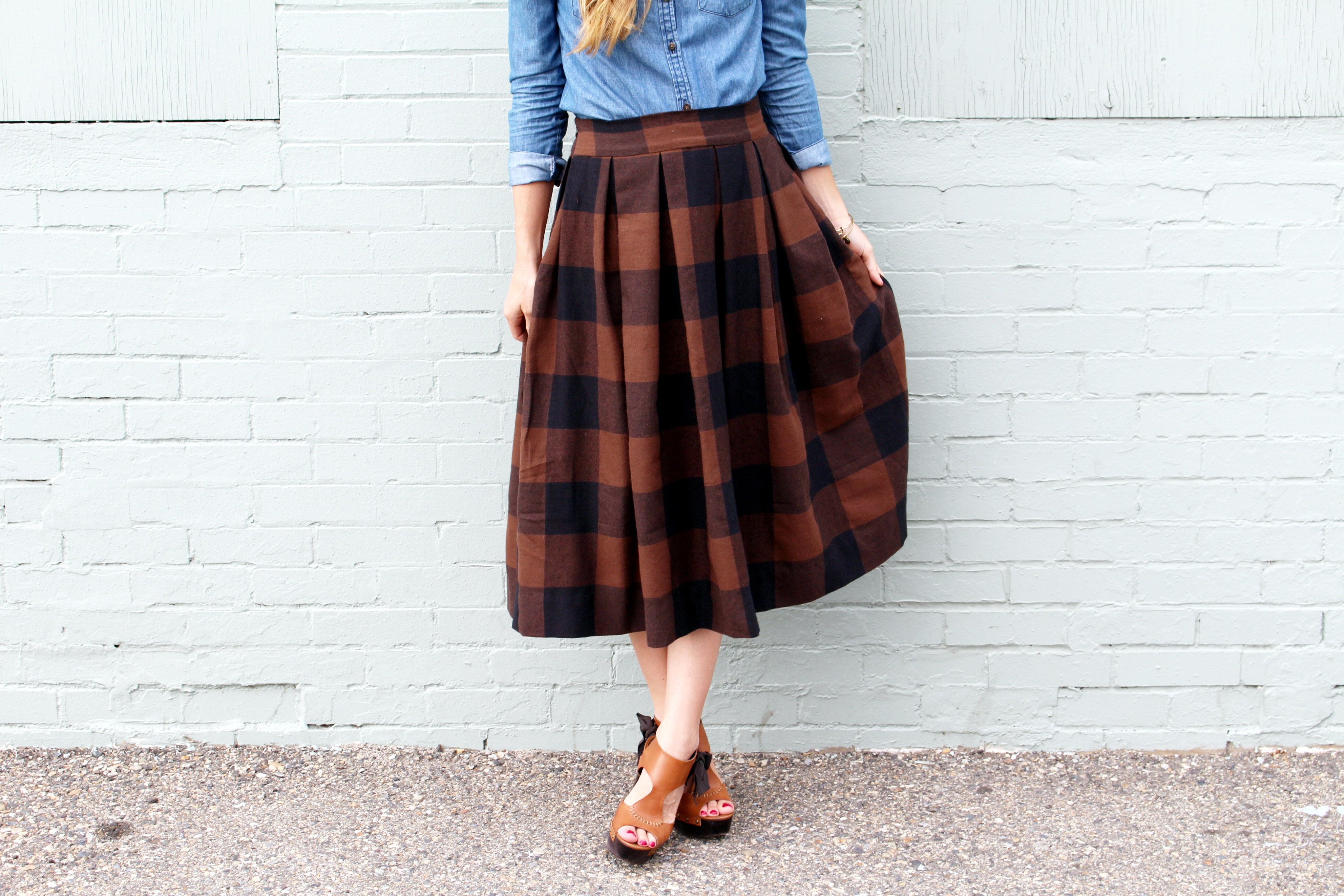 anthro inspired buffalo check pleated midi skirt sewing