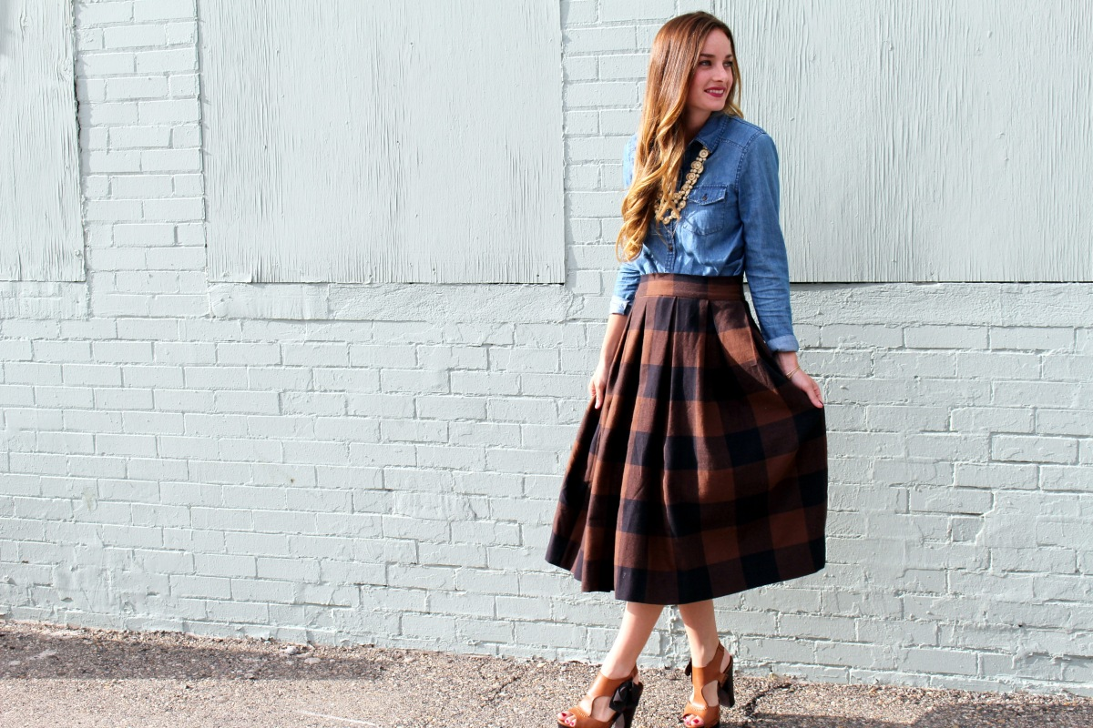 Anthro Inspired Buffalo Check Pleated Midi Skirt Sewing Tutorial + Easy No Mark Pleat Method