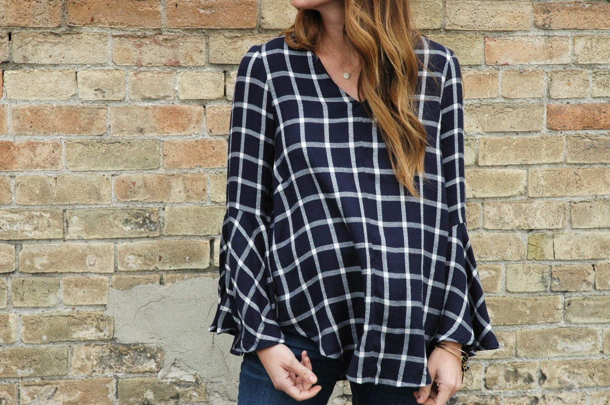 Dove Blouse in Windowpane Plaid
