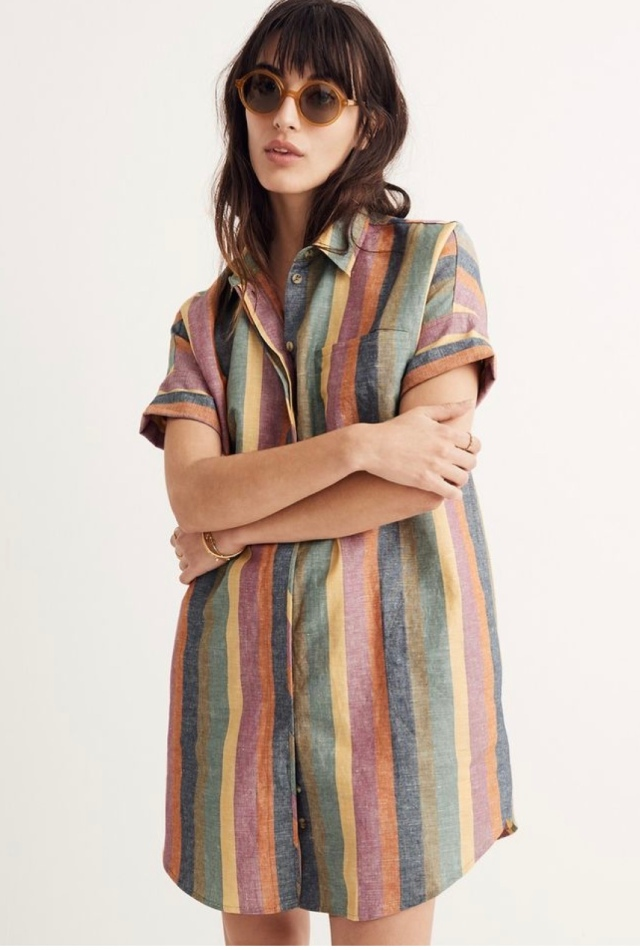 5777ddf32b Madewell Stripe Rainbow Shirt Dress Inspo  Currently Sold Out